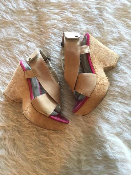 Sandalias Plataforma Mujer Cuero Blaque Beige Altas Zapatos
