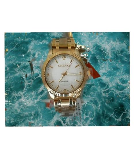 Relógio Dourado Banhado A Ouro Prova Dágua Original Chenxi