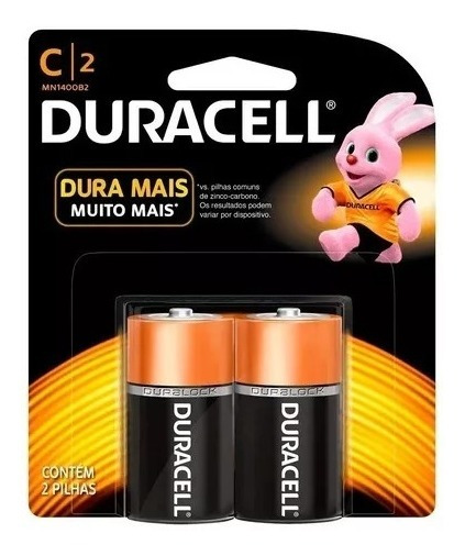 Pilha Duracell Média Tamanho C 1,5v Alcalina - Cartela Com 2