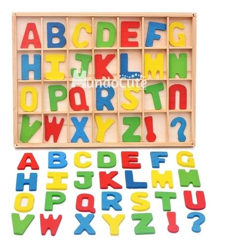 Imagen 1 de 5 de Alfabeto Móvil Abecedario Madera Juguet Didáctico Montessori