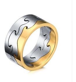 Anel Engrenagem Prata E Dourado