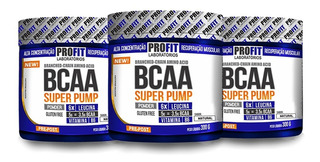 Kit Atacado: 3x Bcaa Super Pump Powder 300g - Profit