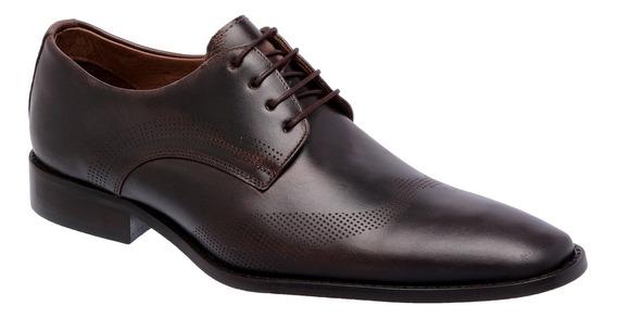 Sapato Masculino Oxford Couro Café 23120 - Frete Grátis