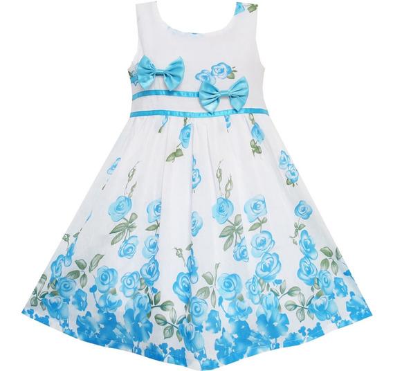 Vestido De Niñas Con Flores Delicado T. 7-8 Años