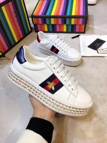 Zapatillas Gucci Nuevas Cuero Y Strass