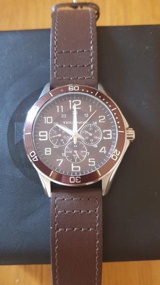Relógio Technos, Marrom, 6p29aah, Lindo, Couro, Novíssimo