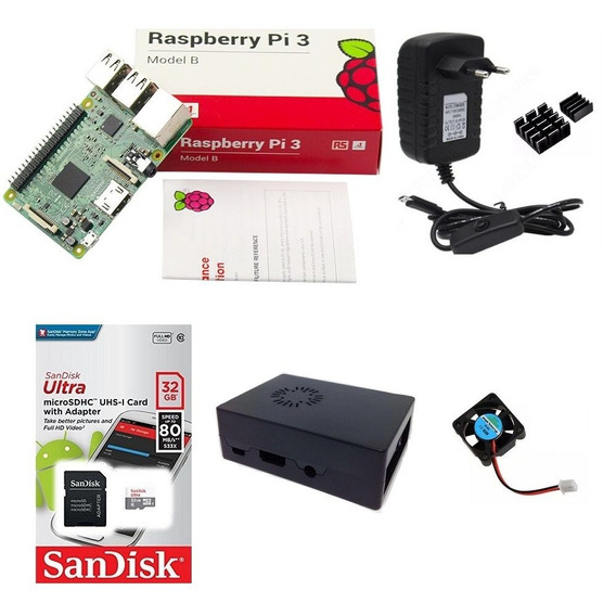 Kit Básico Raspberry Pi 3 - 32gb Case Com Cooler