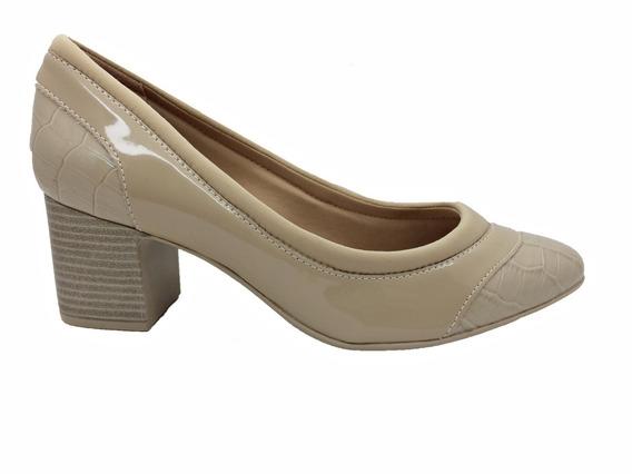 Sapato Comfortflex Feminino Preto Croco Avela Lançamento
