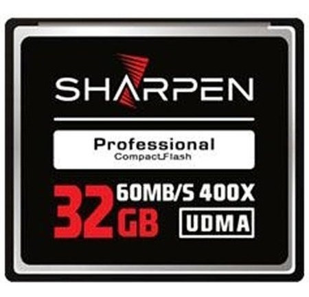 Cartão Compact Flash 32gb Sharpen 60mb/s (400x), Udma5