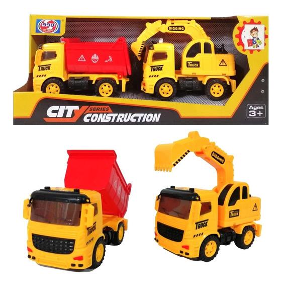 Set Vehiculos De Construccion De Juguete Excavadora Volteo C