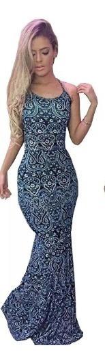 Vestido Sereia Blogueira Longo Decote Costas Com Bojo Top!