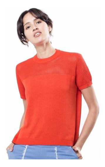 Sweater Blusa Tejida Toscana Roja Manga Corta Giacca