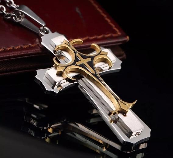 Colar Cruz Secreta Grande Aço Inoxidável Folheado A Ouro