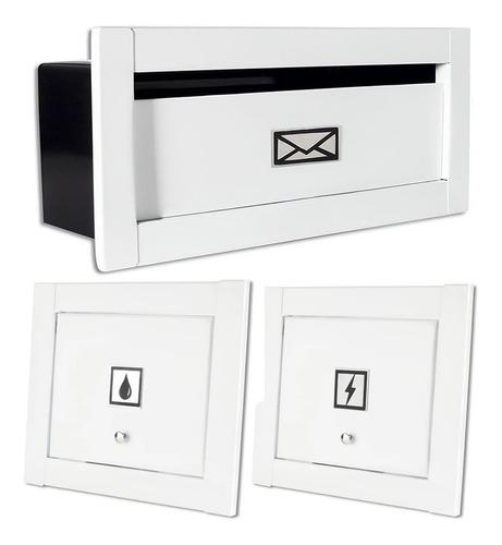 Caixa Correio Carta Linear Preta + Visor Água E Luz