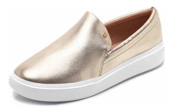 Sapato Feminino Slip On Petite Jolie Metalizado Dourado