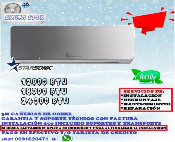 Split Star Sonic Cromado Espejo 12000 18000 24000btu Aire Ac