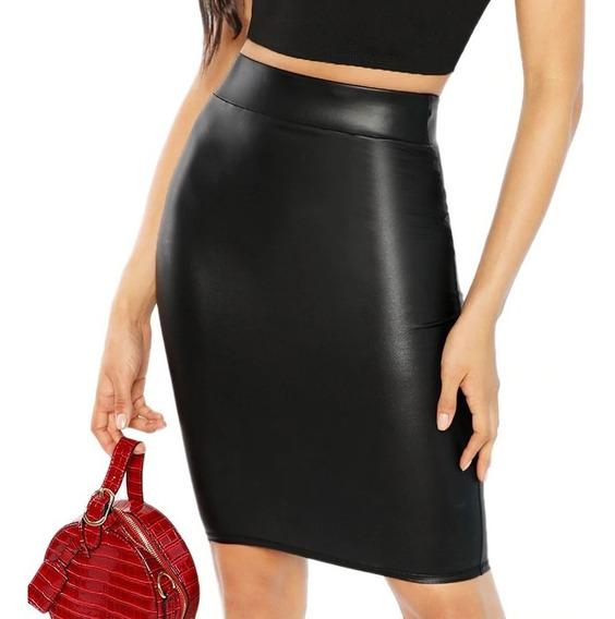 Falda Larga Elegante Sexy Forma Lapiz Plastificado Midi
