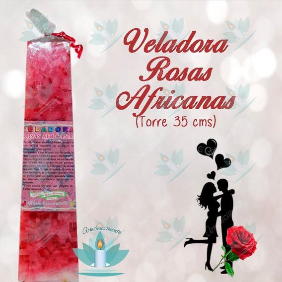 Veladora Pirámide Rosas Africanas (torre 35 Cms) Afrodisíaca