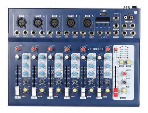 Ammoon F7-usb - Mezclador De Sonido Digital (7 Canales)