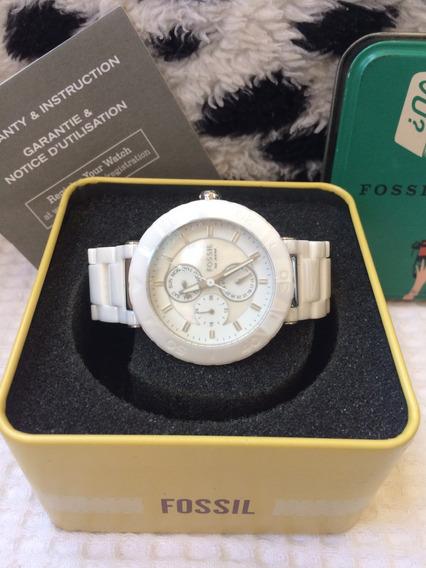 Relógio Fossil Branco Em Cerâmica Feminino Novo/ Original
