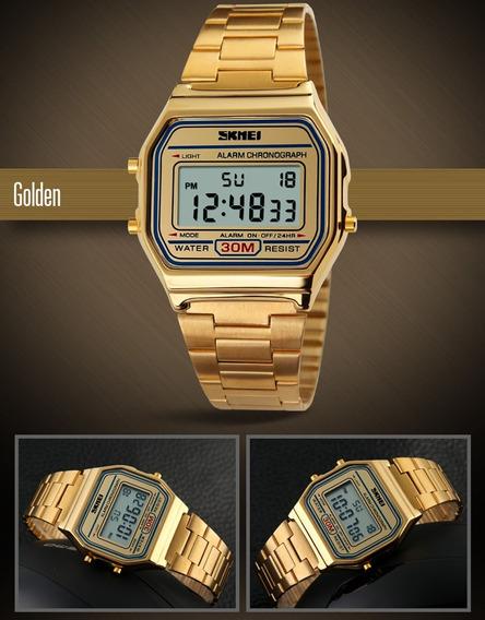 Relógio Feminino Retrô Vintage Skmei Digital Dourado 1123