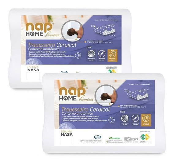 Kit 2 Travesseiros Cervical Nasa Premium Capa Impermeável