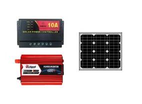 Kit Placa Painel 30w Solar Controlador Inversor 1500w 220v