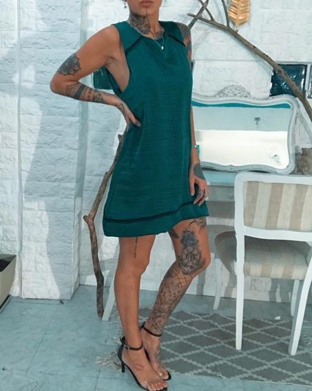 Vestido De Raso Corto Dama Mujer Fino Exc.calidad Art,6505