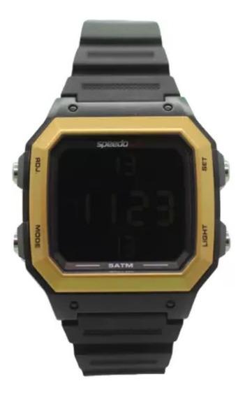 Relógio Masculino Speedo Digital Preto E Dourado Quadrado