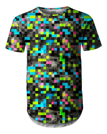 Camiseta Masculina Longline Swag Tecno Pixels