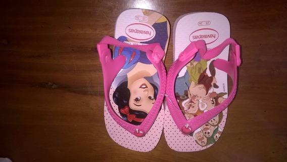 Sandalha Infantil Havaiana Tema Disney Branca De Neve