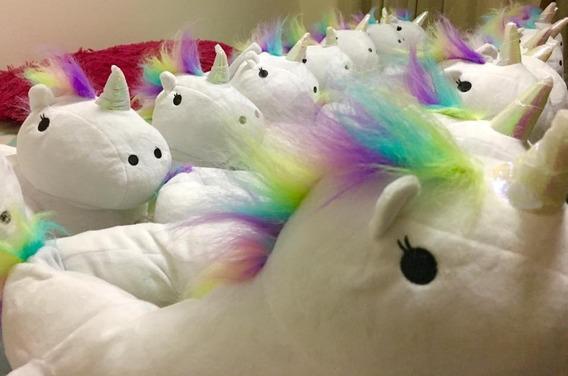 Pantuflas Unicornio Con Luz Led Tornasol Y Colores, Unitalla