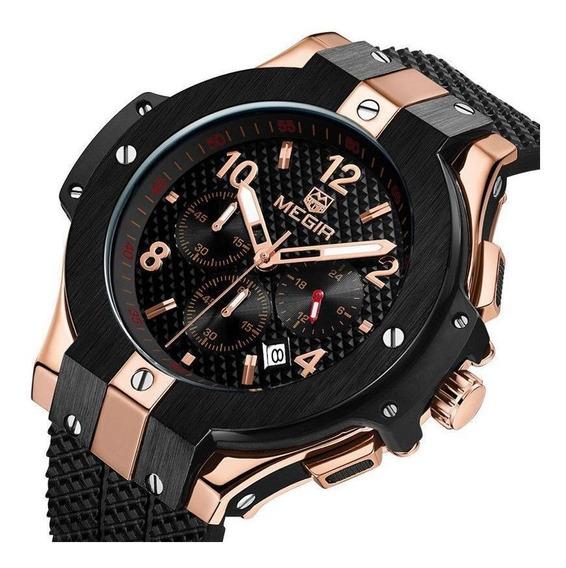 Novo Relógio Megir 2050 Com Cronógrafo Original Luxo Top !!