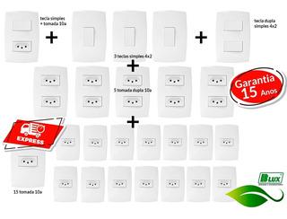 Tomadas Interruptores (25 Pçs)) Casa Completa Blux Branco