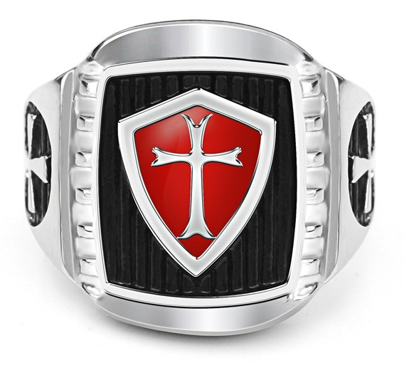 Anel Masculino Aço 316l Maçom Ordem Cavaleiros Templários