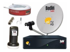 Kit Receptor Oi Tv Livre Bedin Antena Ku Cabo Lnbf Completo
