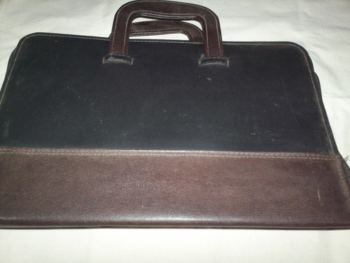 Attache Portafolio Negro Y Marron