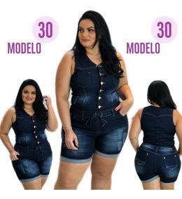 Macaquinho Macacão Plus Size Jeans Lançamento Impact Ref. 30
