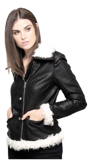 Chamarra De Vinipiel Negra, Con Aplicación De Fur, Elegante.