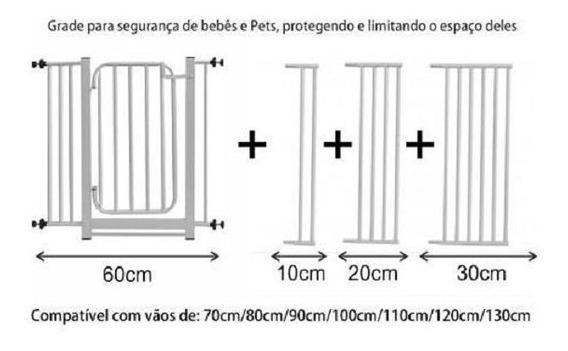 Grade Proteção Portão Criança Bebê Cão Vão De 70/130cm Frgr