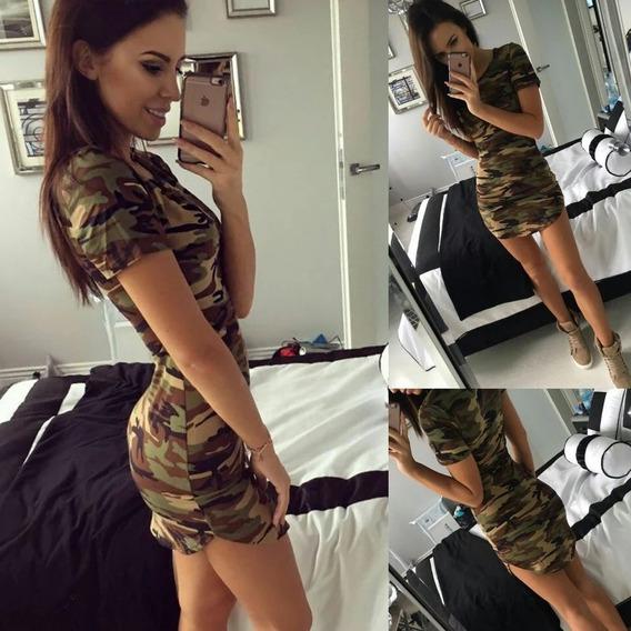 Moda Feminina Vestido Militar Curto De Verão Pronta Entrega