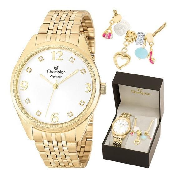 Kit Relógio Champion Feminino Com Pulseira Cn26251s