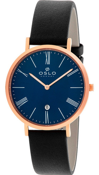 Relógio Masculino Slim Rose Oslo Vidro Safira Mostrador Azul