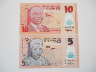2 Notas Nigéria 5 & 10 Naira Fe Em Plástico - Envio 8,90