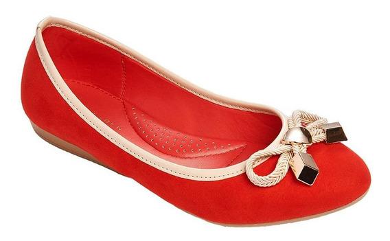 Flats Con Moño Casuales Mujer Tipo Gamuza Rojo