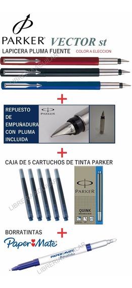 Lapicera Pluma Parker + Repuesto Pluma + Cartuchos + Borrati