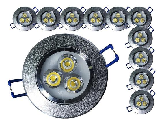 Kit 100 Spot Led 3w Redondo Carcaça Alumínio E Luz Quente M3