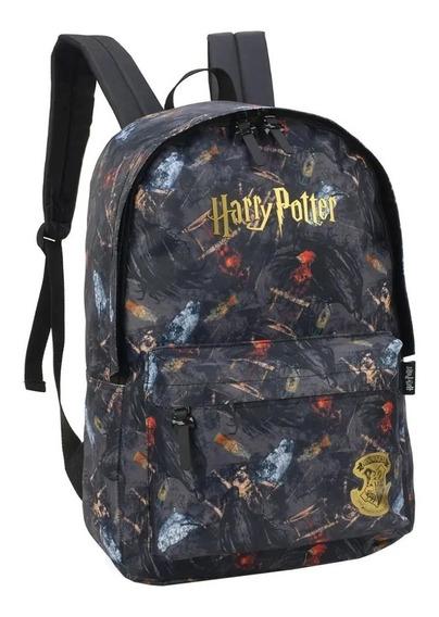 Mochila Escolar Notebook Preto Harry Potter Hogwarts Bruxos