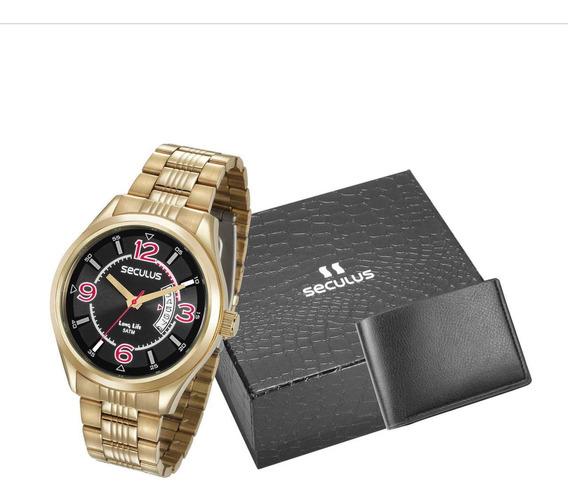 Kit Relógio Masculino Dourado + Carteira 23647gpsvda3k1