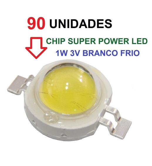 90 Chip Super Power Led 1w 3v Branco Frio Original Frete Bom